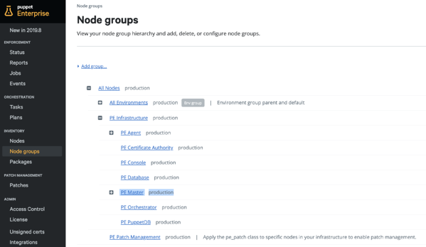PE node groups