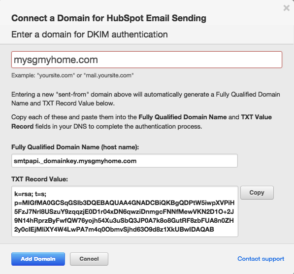 Connect a domain for hubspot email sending