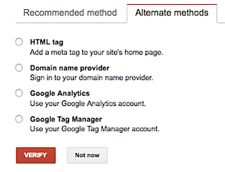 Google Webmasters Console verification methods