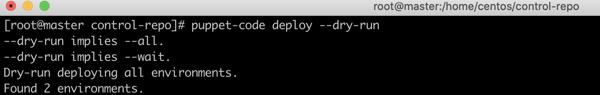 Puppet code deploy dry run