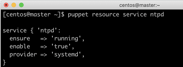 Puppet resource service ntpd