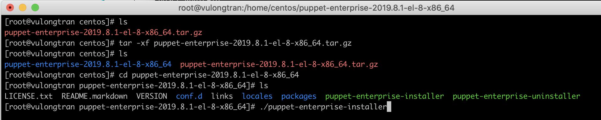 run-puppet-enterprise-installer-centos