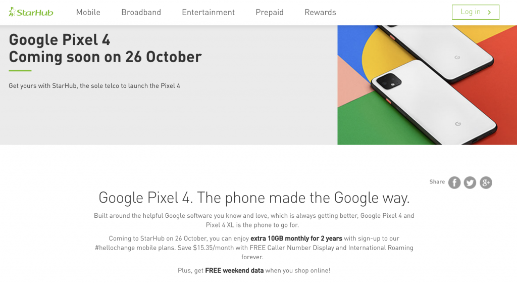 Pixel 4 preorder promotion from Starhub