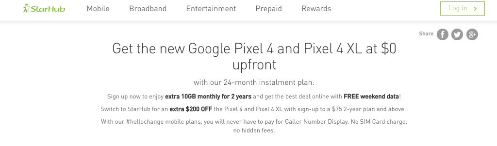 Google Pixel 4 offering from Starhub
