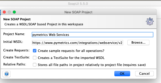 "Create a ""New SOAP Project"" where you add in the pymetrics.com WSDL link"