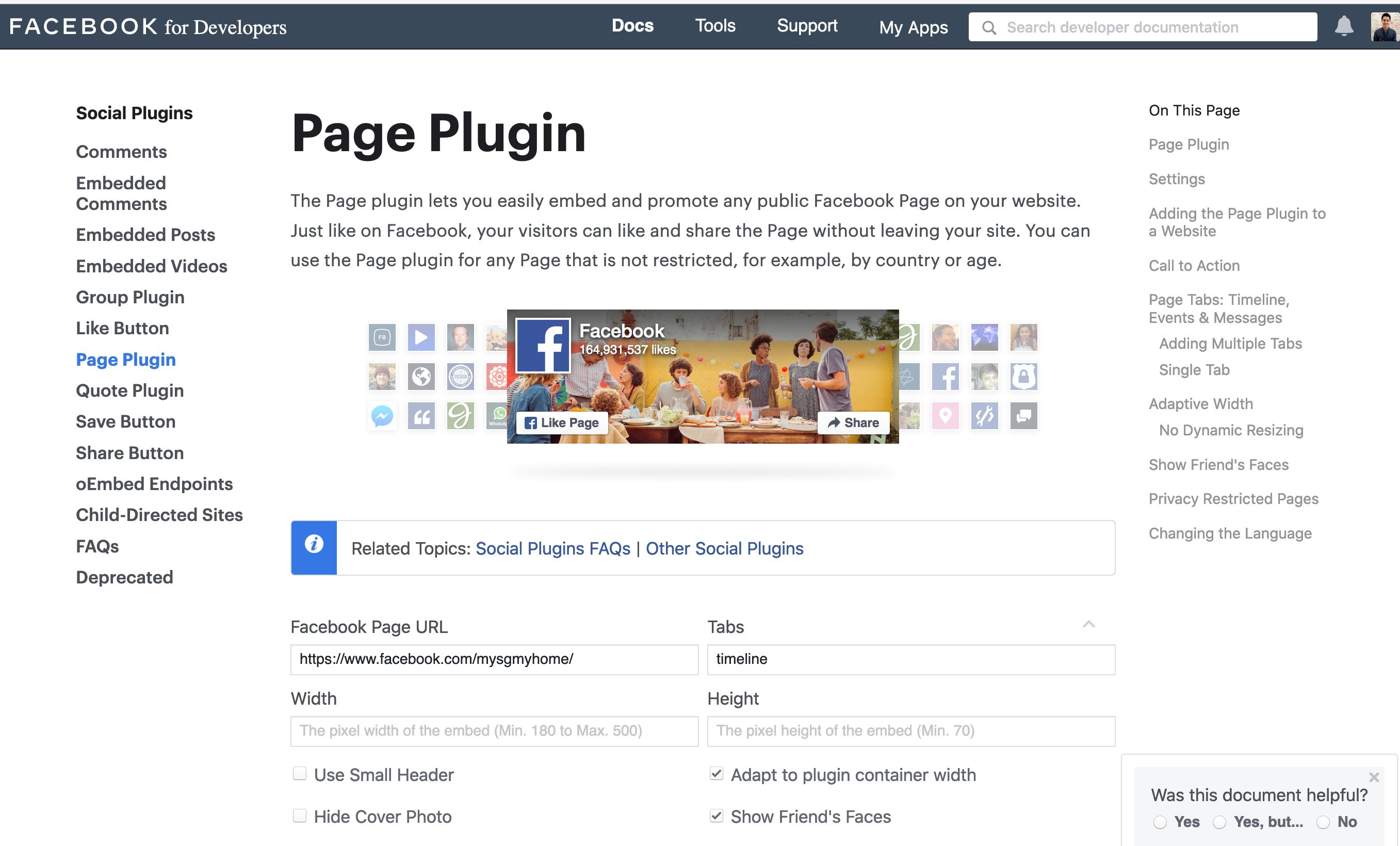Get Facebook Page code