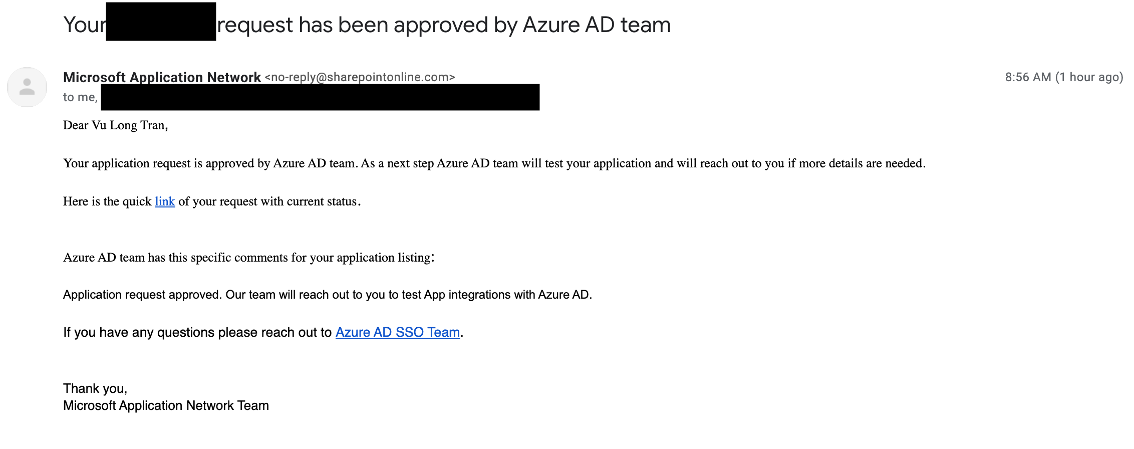 Microsoft Application Network submission approval