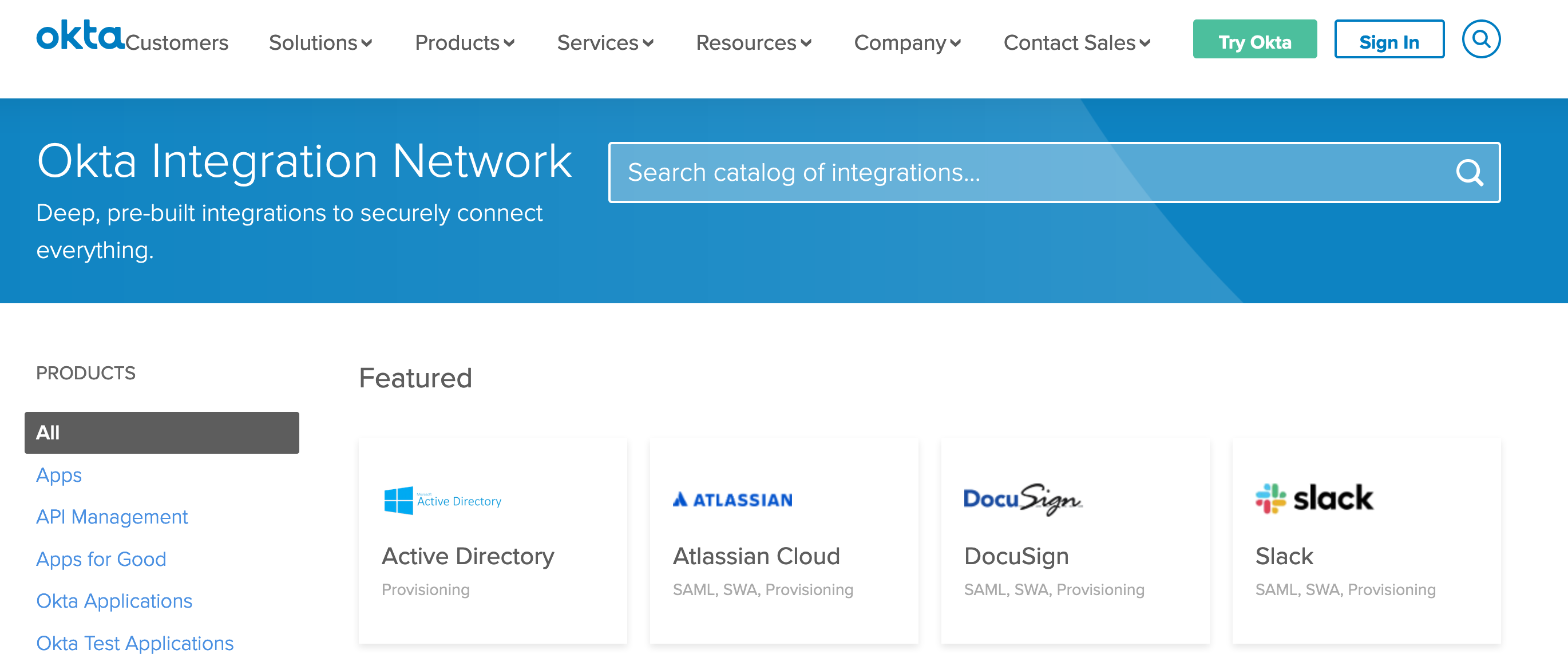 Okta Integration Network marketplace